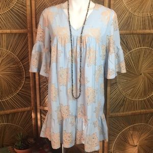 NWT Umgee USA Baby Blue Beige Lace Dress Medium
